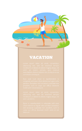 Vacation Poster Guy Playing with Ball at Coastline Illustration