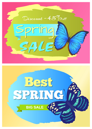 Sale spring discount labels set blue butterfly with dots, wings with ornaments, morpho springtime creatures vector promo price off concept emblems Illustration