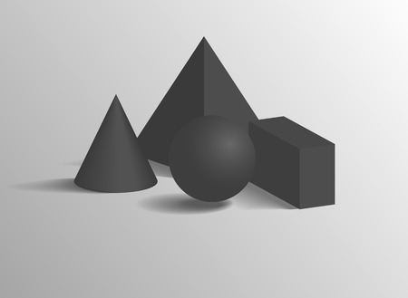 Square pyramid or cone, sphere and cuboid 3D geometric black shapes. Three dimensional figures composition isolated realistic vector illustration. Illustration