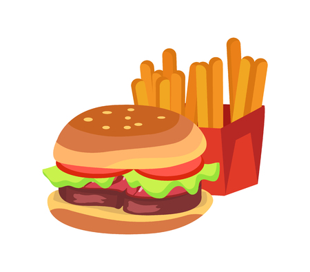 Hamburger and french fries, fast food, fried potato placed in box of red color with burger. Meal vector illustration isolated on white background.