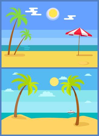 Tropical resorts vector illustrations set with palm trees sand, coastline seaview hot sun in sky, ship athorizon, umbrella on beach, summer paradise