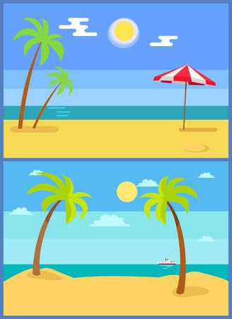 Tropical resorts vector illustrations set with palm trees sand, coastline seaview hot sun in sky, ship athorizon, umbrella on beach, summer paradise