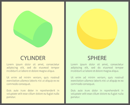 Cylinder and sphere poster, titles collection of banners with text sample, cylindrical circles vector illustration isolated on green yellow backgrounds Illustration