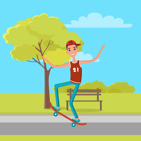Skateboarder in sleeveless shirt with jeans makes tricks or rides skateboard, 21 June Go skateboarding day character on background of bench and tree.