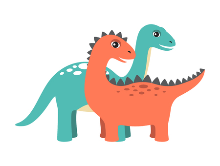 Diplodocus and dinosaur set collection of dinosaurs, prehistoric creatures with spikes and long neck, vector illustration isolated on white background