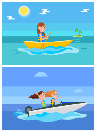 Summer hobby, and sport set, boating or ride on boat, island with palm trees, girls does seasonal activity, collection, isolated vector illustration.