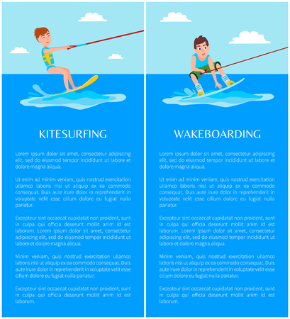 Kitesurfing and wakeboarding , summer sport, active rest, healthy lifestyle, water training, surf boards, special equipment vector illustrations set. Illustration