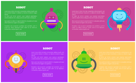 Robots automated mechanisms collection with text under headlines, buttons or gears, bots set that have fire and wheels, isolated vector illustrations. Illusztráció