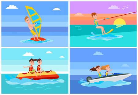 Summertime activities set, windsurfing and banana boat, boating or kitesurfing, boys with girls summer, collection isolated on vector illustration. Stock Vector - 107582888