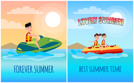 Lovely summer forever collection banner, posters with headlines and banana boat or jet ski sport activity isolated cartoon vector illustrations set.