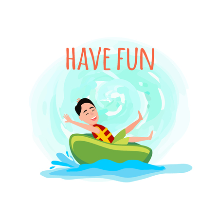 Have fun poster with boy rides donut, amusement in water or aqua park cartoon flat vector illustration isolated on white sea splashes ring riding.