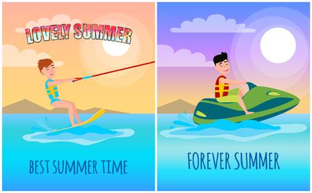 Forever summer, best lovely time poster, man on marine bike, kitesurfing sport, yellow board for surfing and green watercraft vector illustration.
