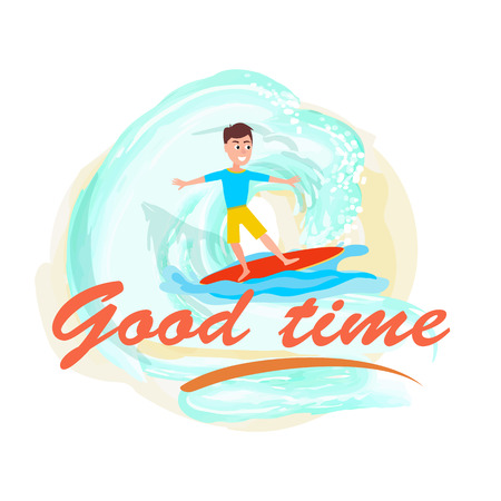 Bon temps affiche l'activité sportive de surf et garçon Vecteurs