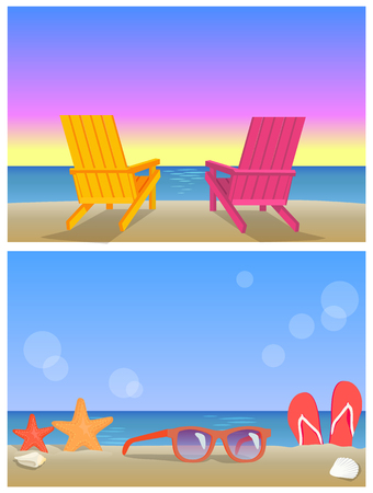 Two Seascapes Banners, Summer Time Illustrations