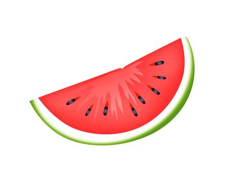 Fresh juicy watermelon slice. Delicious organic berry with small black seeds. Healthy natural food that gets ripe only in summer vector illustration. 일러스트