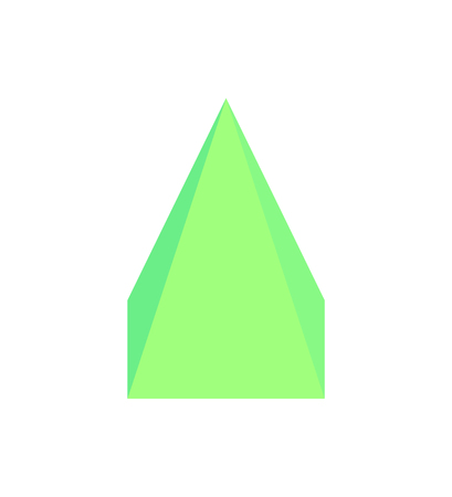 Square pyramid three dimensional figure with faces and edges, green geometric 3d shape vector illustration isolated on white, geometry element Stock Vector - 110353389