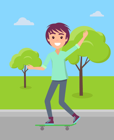 Teenager riding skateboard in summer park on background of green trees vector illustration. Skater skateboarder brunet boy greets you, rider guy.