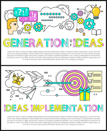 Generation of ideas poster collection with editable text sample, implementation of thoughts, target and flying arrow, banners set vector illustration Stock Illustratie