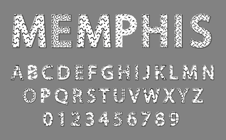 Memphis Alphabet and Numbers Vector Illustration