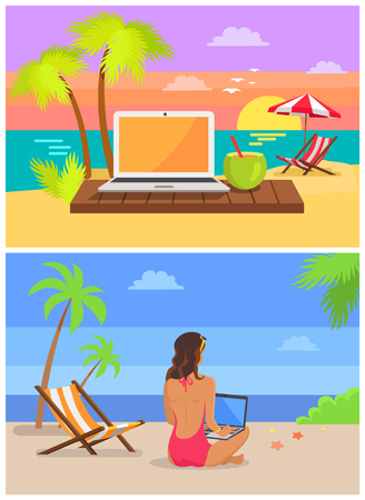 Freelancer laptop collection, woman sitting sand with notebook, freelance and seaside, cocktail at sunset, isolated on vector illustration