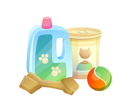 Bottle and can pet shop items, ball for playing, bone full of calcium, animal care products set, isolated vector illustration on white background.