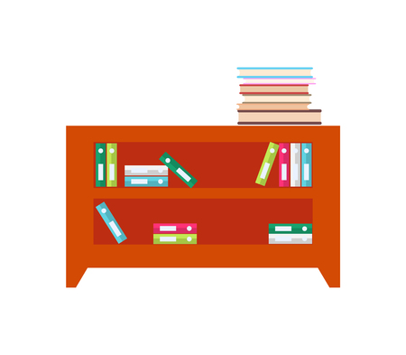 Wooden cabinet full of books and folders of documents. Furniture for office with spacious shelves to keep papers isolated cartoon vector illustration.
