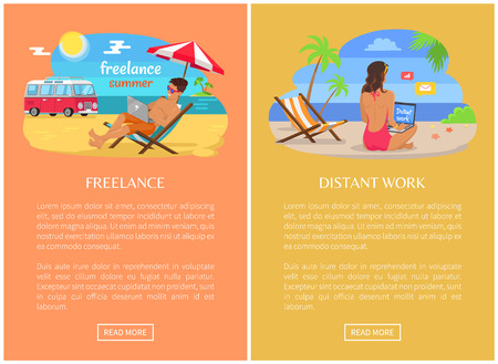 Freelance and distant work web pages set. Woman and man at sandy beach near sea with laptops. Young freelancer on promo banners vector illustrations.