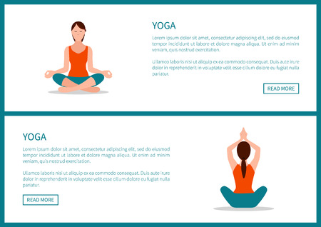 Yoga workout, sporty woman in lotus pose, text sample, concentration training, fitness positions, meditation proces cartoon vector illustrations.