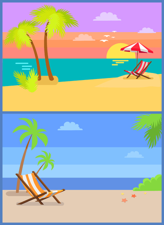 Day and eve on tropical island summertime paradise sandy beach, chaise longue under palm tree, striped umbrella over sunbed, sunset at coastline vector