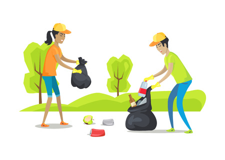People collecting garbage and metal waste, rotten apple, organic garbage, man with woman volunteering caring for environment, vector illustration Illustration