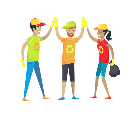 Volunteers happy giving high-five each other, people wearing caps, t-shirts with recycling sign, collected trash bag, isolated on vector illustration Illustration