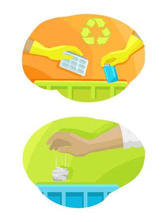 Hands Throwing Trash Away Vector Illustration Ilustração