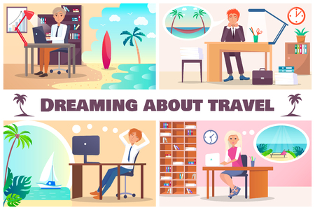 Dreaming about travel color vector illustration, sitting in offices workers and thinking for rest in warm countries, beautiful sea scapes and palms Illustration
