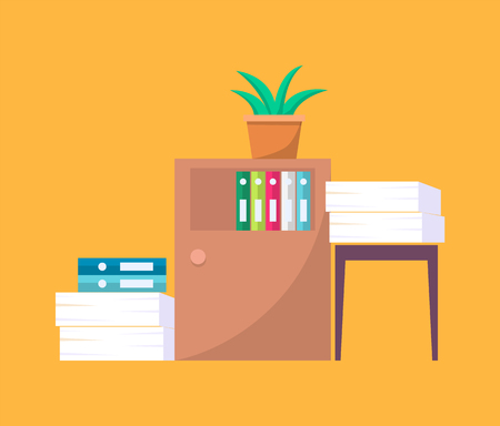 Office tables with folders and piles of documents. Plant in pot on wooden furniture for work environment isolated cartoon flat vector illustration. Foto de archivo - 110353416