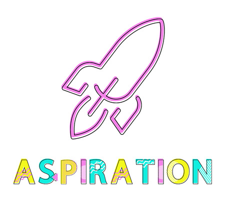 Aspiration poster isolated on white background vector illustration, image of abstract jet rocket made by pink lines, visualization striving to act