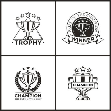 Trophies for Champions and Winners Monochrome Set