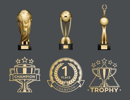 Coppe e medaglie trofeo d'oro per il 1 ° posto