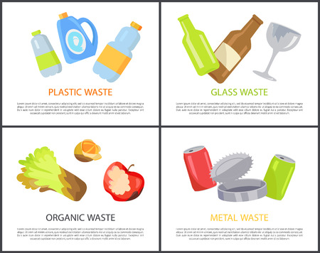Plastic glass organic and metal waste collection, vector illustration of various types of rubbish, different bottles and food icons set, text sample