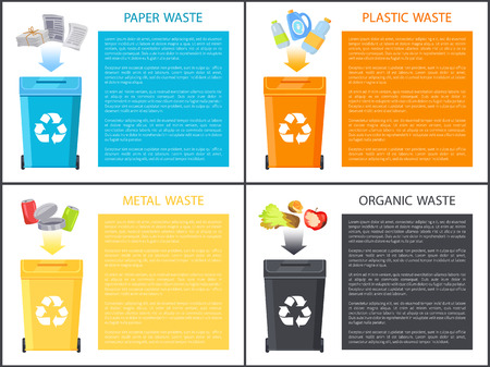Paper Plastic and Metal Waste Vector Illustration