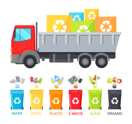 Truck loaded with containers of different waste types, organic metal plastic, glass paper and plastic garbage transportation set vector illustration