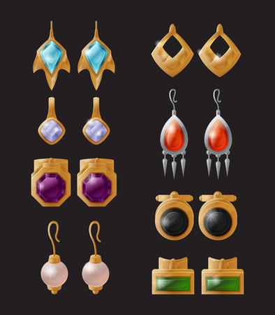 Collezione di orecchini costosi vettore isolato accessori femminili eleganti con pietre di zaffiro e rubino, decorazioni in oro per orecchie, oggetti del tesoro Vettoriali
