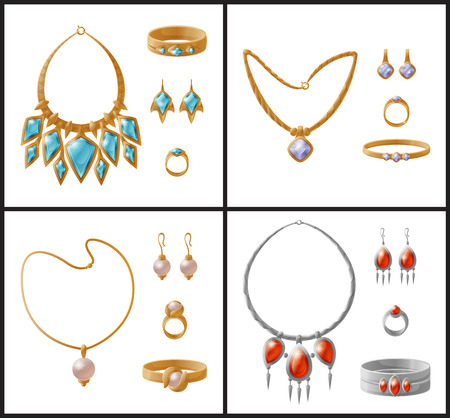 Expensive luxurious jewelry inlaid with gemstones. Gorgeous necklaces, cute ear-rings, gold or silver bracelets in sets isolated vector illustrations.