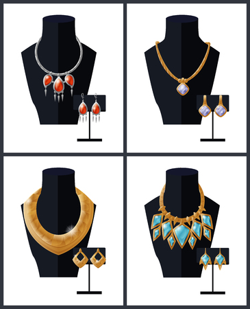 Jewelry collection necklaces with precious stones on black mannequin and earrings, expensive accessory items isolated. Golden chains with pendant vector