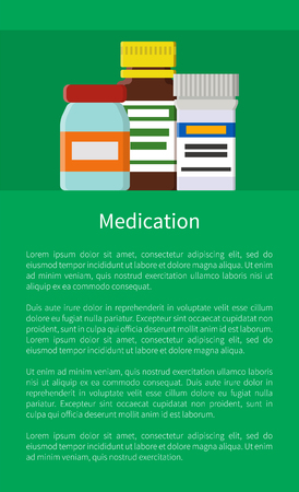 Medication poster with glass and plastic bottles set collection of prescriptions for getting well, production for patients, banner vector illustration