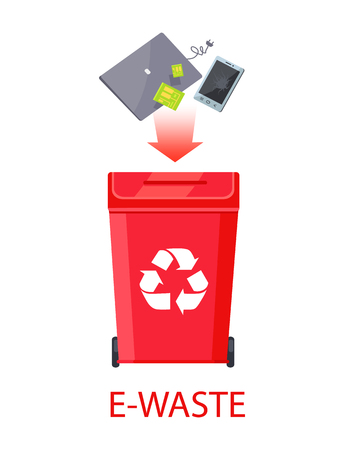 E-waste poster with headline, red bin having recycling symbol and items throwing away in it, scratched mobile phone, grey laptop vector illustration