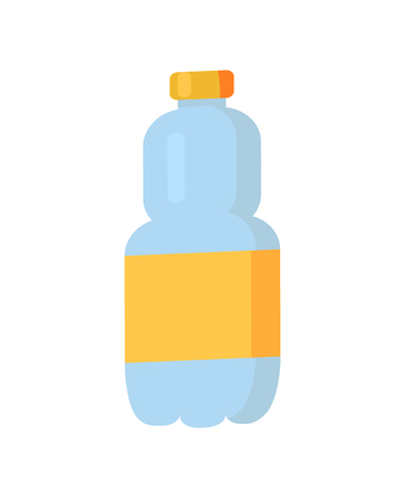 Plastic bottle with orange blank label, water beverage product poured in container having cap, transparent item vector illustration isolated on white