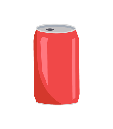 Primer plano de lata roja de coca cola, recipiente de aluminio con agujero para beber, bebida sabrosa vertida en el interior, ilustración de vector de bebida aislado en blanco
