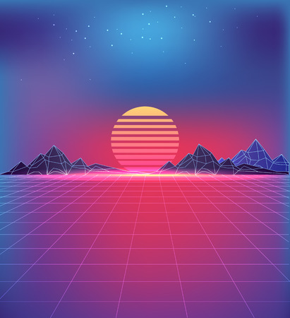 80s style backdrop with cosmic motifs. Grid texture, huge sun between rocky mountains under starry sky in pink and purple colors vector illustration.