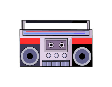 Tape recorder of 80s closeup of compact portable device for listening to music while walking musical electronic object isolated on vector illustration