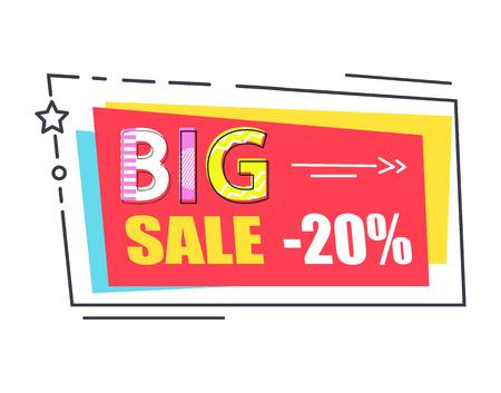 Rectángulo de etiqueta de promoción de gran venta decorado por estrella Foto de archivo